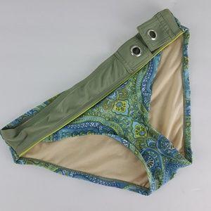 ATHLETA Blue Green Paisley Swim Bottoms S Z51